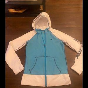 Blue/White Nike Zip Up Hoodie - S